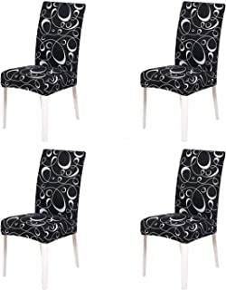 SoulFeel Set of 4 Stretch Chair Covers for Dining Room, Removable Fitted Seat Slipcovers Protector (Dance in Dark)