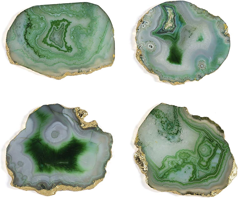 Shiraleah Home 19-10-002GR Set of 4 Agate Coaster Set, Green