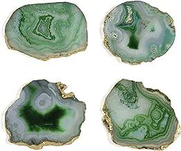 Shiraleah Home Set of 4 Agate Coaster Set, Green