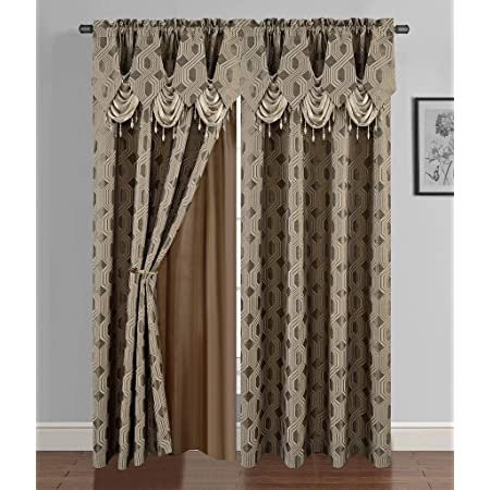 """NEW Xena Luxury Curtains Set Size 60/"""" x 84/"""" Two Sage Panels//Gold Tassels//Valence"""
