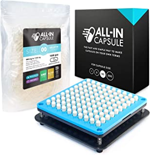 ALL-IN Capsule Filling Machine for Size 00 Bundle With 1000 Clear Gelatin Capsules - Make Your Own Capsules Now Easier and Faster - Clear Illustrated Instructions With Video