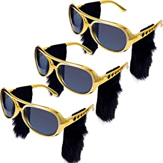 3 Pieces Elvis Rockstar Glasses with Attached Beard Sideburns Sunglasses Glasses for 50s and 60s Party Rock Them Party Favors