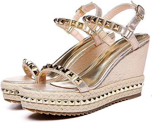Sandalen Mode Keil Sandalen Schuhe High Heels Niete Schuhe Wort mit Stroh Schuhe, Gold (Farbe   With height 9cm, Größe   34)