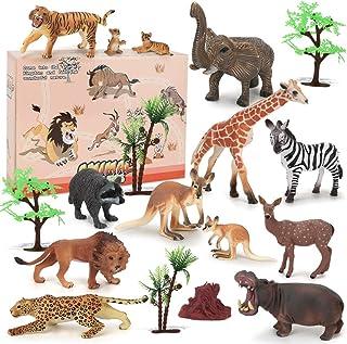 BeebeeRun 18 Pièces Jouets Animaux,Jouet Enfant 2 Ans 3 Ans 4 Ans,éducatifs en Plastique Figurines animales Jouets pour ga...