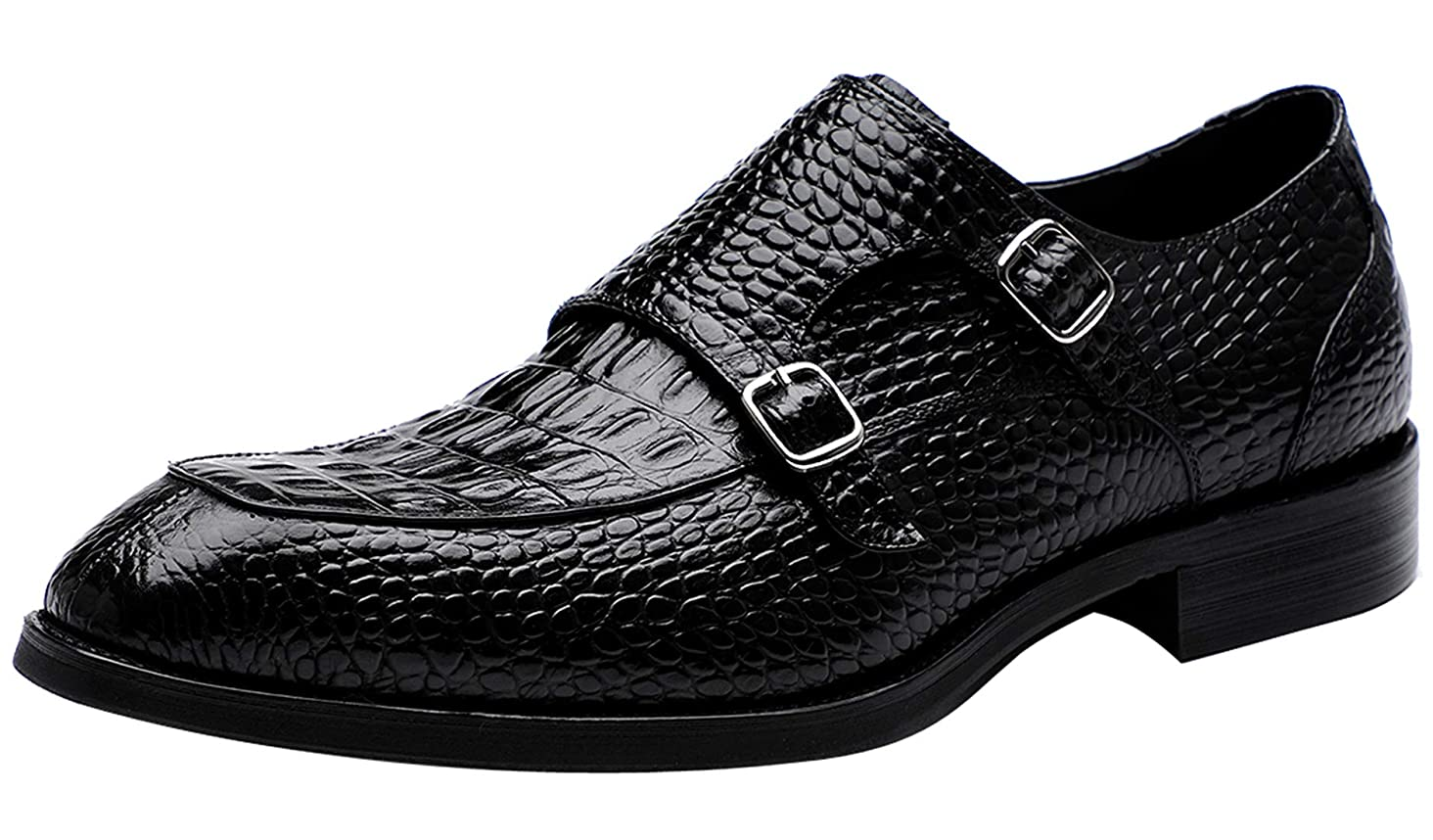 Mens Double Monk Strap Slip on Loafer Leather Oxford Formal Business Casual Comfortable Dress Shoes for Men