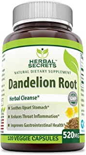 Herbal Secrets Dandelion Root 520 Mg 120 Veggie Capsules (Non-GMO) - Improve Gastrointestinal Health, Reduces Throat Infla...