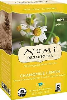 Numi Organic Tea Chamomile Lemon, 18 Count Box of Tea Bags (Pack of 3) Herbal Teasan