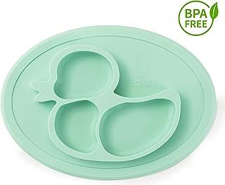 Plato para niños sin BPA y antideslizante 27x20x3cm - Plato para alimentos seguro y probado plato con ventosa para bebes plato ventosa bebe blw plato bebe silicona bandeja blw YAMBINO (Turquesa)