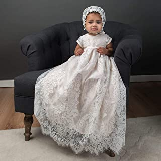 Victoria Short Sleeve Baby Girl Silk and Lace Christening and Baptism gown
