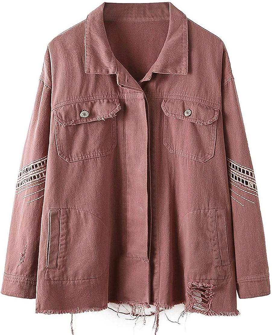 utcoco Womens Boyfriend Frayed Ripped Spread Collar Pockets Washed Denim Jacket Outwear