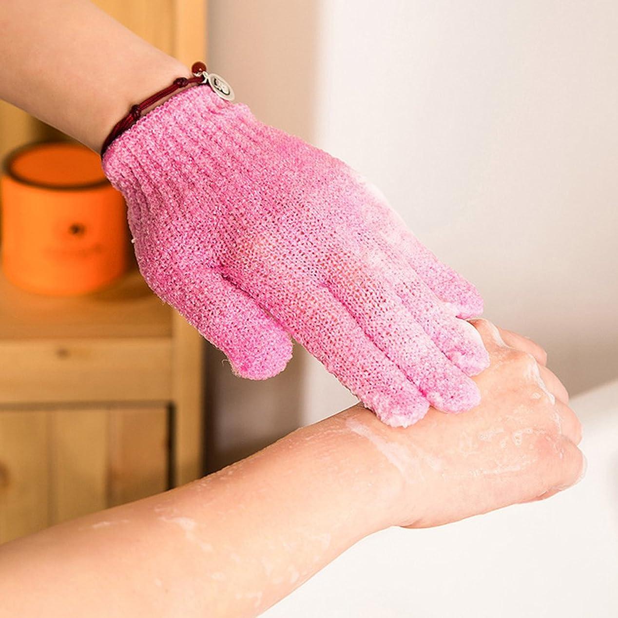 柔らかさ不規則性製品ROSENICE シャワーエクスフォリエイティングバスグローブナイロンシャワーグローブボディスクラブエクスフォリエーター4ペア