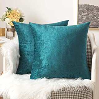 MIULEE Pack of 2 Chenille Throw Pillow Covers Decorative Pillowcase Soft Solid Cushion Case for Couch Sofa Bedroom Car 18x18 Inch, Teal