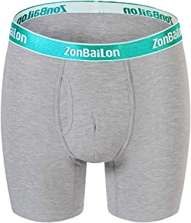 ZONBAILON Men Big and Tall No Ride up Underwear Boxer Briefs Long Leg Sports Trunks Underpants Fly with Pouch for Ball 4/6/8 Pack
