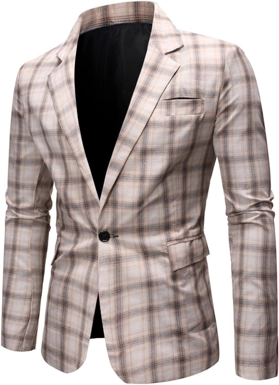Mens Plaid Suits Blazer Coat Slim Fit Casual One Button Business Wedding Dress for Wedding Party Celebration