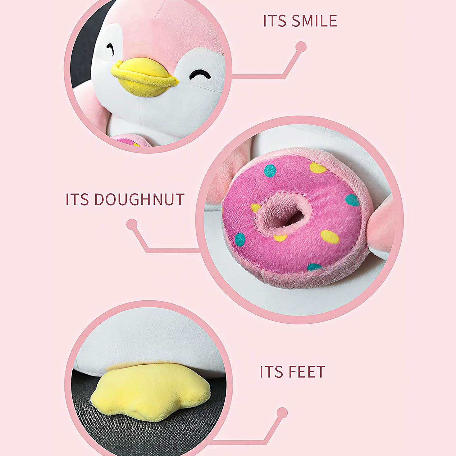 Christmas Pillow for Boy Girls 13 Inches MINISO Cute Penguin Plush Toy Lovely Plushies Stuffed Animal Doll Gift Pizza Character