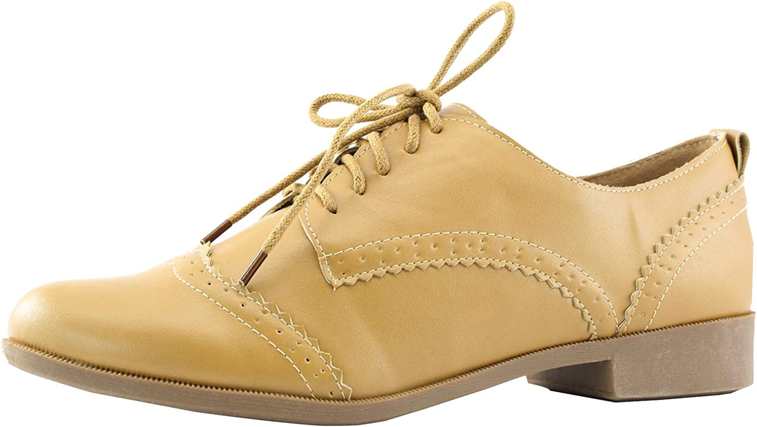 Nature Breeze Women's Campus-01 Five-Eyelets up Wing Tip Perforation Oxfords Fashion Dress shoes