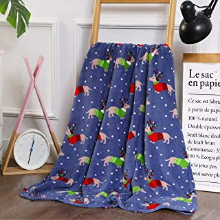 Elegant Comfort Velvet Touch Ultra Plush Christmas Holiday Printed Fleece Throw/Blanket-50 x 60inch, (Dogs in Sweaters)