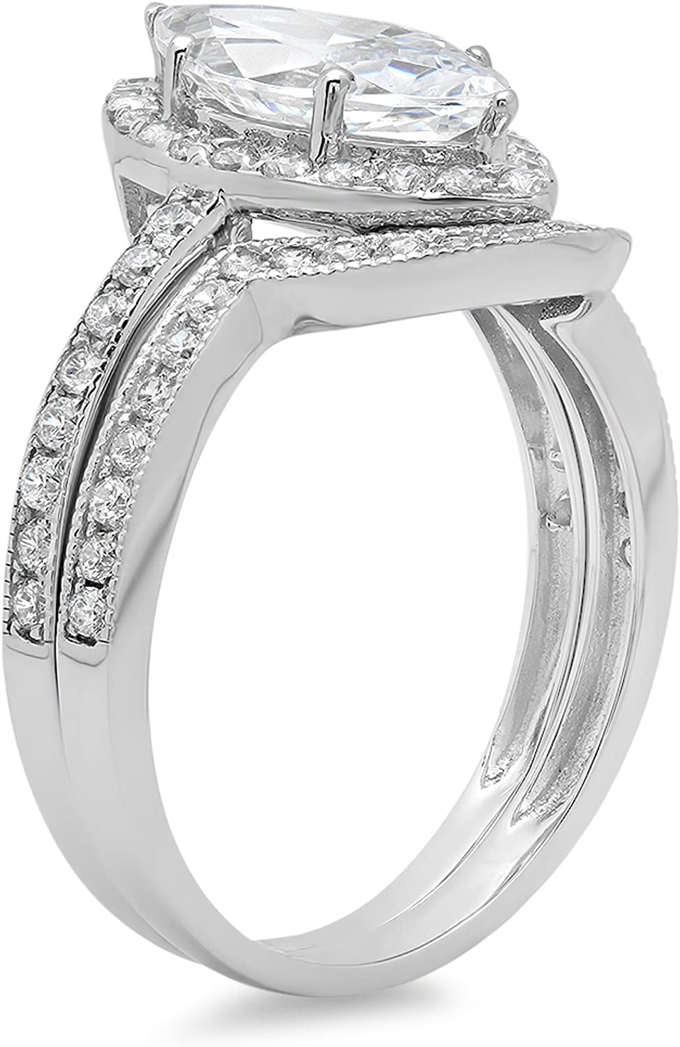 2.1ct Marquise Round Cut Pave Halo Solitaire with Accent VVS1 Ideal D White Created Sapphire & Simulated Diamond Engagement Promise Designer Anniversary Wedding Bridal ring band set 14k White Gold