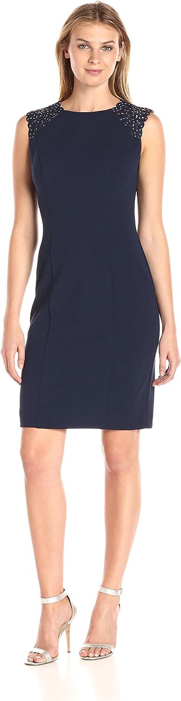 Alex Evenings Womens Short Shift Dress with Beaded Shoulder Detail Dress