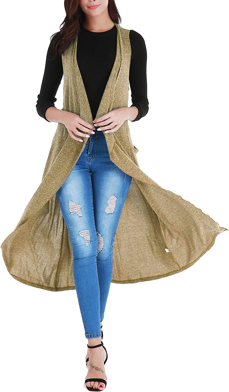 Uniboutique Women's Long Open Front Cardigan Vest with Pockets and Belt