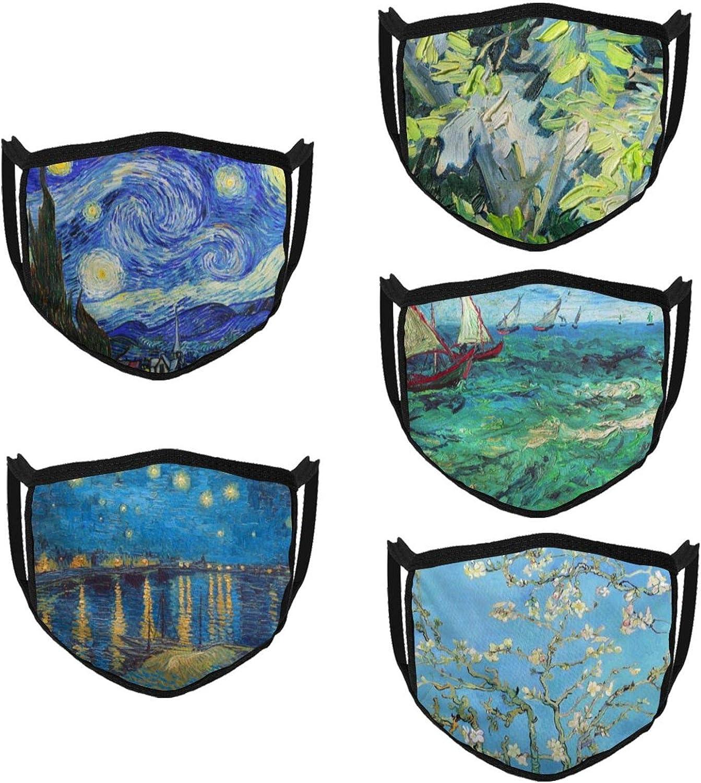 Van Gogh Face Mask Washable Reusable Adjustable Cloth Face Mask Outdoor Dust-Proof Art Face Masks for Men Women
