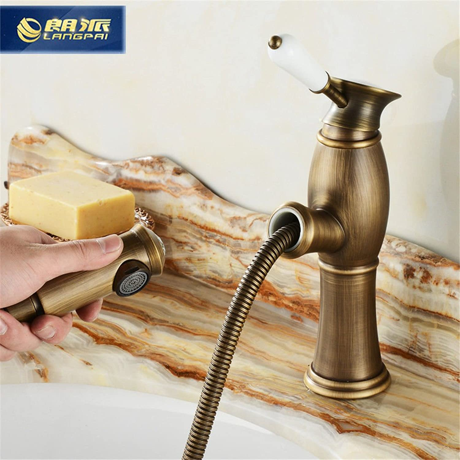 Lalaky Taps Faucet Kitchen Mixer Sink Waterfall Bathroom Mixer Basin Mixer Tap for Kitchen Bathroom and Washroom gold Pull-Out Antique Copper Single Hole Hot and Cold