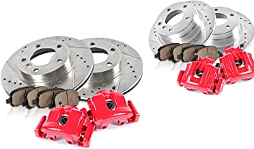 CCK11757 FRONT 286 mm + REAR 280 mm [4] Powder Coated Red Calipers + [4] Rotors + Quiet Low Dust Ceramic Pads + Sensors