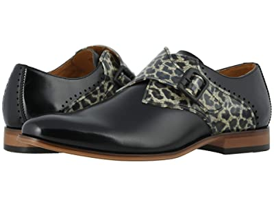Stacy Adams Sutcliff Plain Toe Monk Strap (Black/Leopard) Men