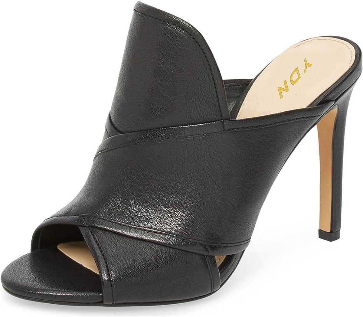 YDN Women Open Toe Stiletto High Heels Backless Mule Pumps Slip On Slide Sandal Dress Clogs Shoes