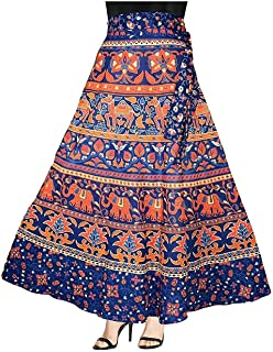 Eshopitude Cotton Jaipuri Wrap Around Skirt with Dangling Earrings for Women - Combo (Multicolour Free Size)