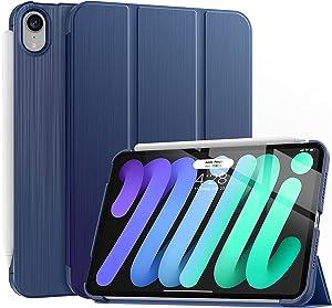 Soke New iPad Mini 6 Case 2021 - [Slim Trifold Stand + 2nd Gen Apple Pencil Charging + Smart Auto Wake/Sleep], Premium Protective Hard PC Back Cover for iPad Mini 6th Generation 8.3 inch(Navy)