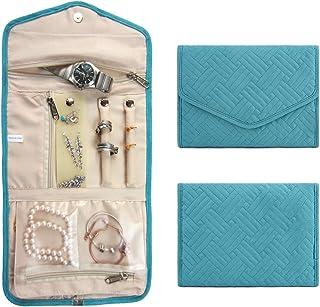 JINFIRE Travel Jewelry Organizer Roll Foldable Jewelry Case for Rings, Necklaces, Earrings, Bracelets, Light Blue