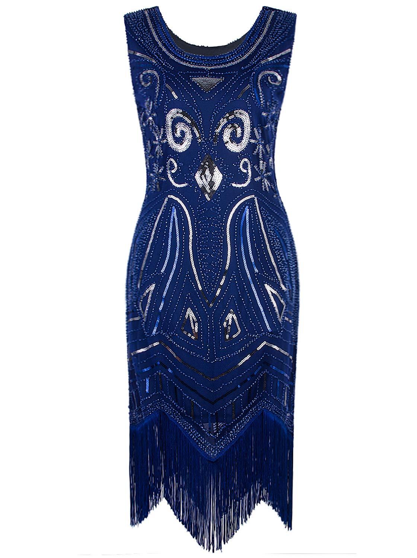 Available at Amazon: VIJIV Women's 1920s Vintage Gatsby Bead Sequin Art Nouveau Deco Flapper Dress