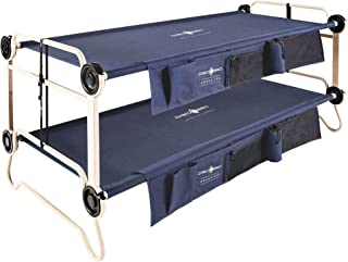 Disc-O-Bed XL Cam-O-Bunk Benchable Bunked Double Cot with Organizers, Navy Blue