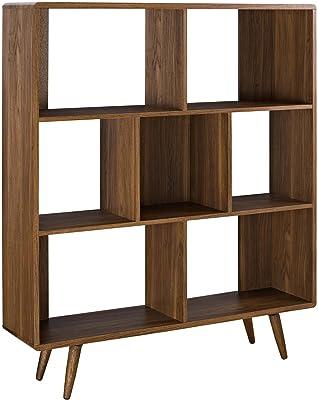 Modway Transmit Mid-Century Offset Cube Wood Bookcase in Walnut