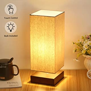 Touch Control Table Lamp Bedside 3 Way Dimmable Touch Desk Lamp Modern Nightstand Lamp with Square Fabric Lamp Shade Simple Night Light for Bedroom Living Room Office, Led Bulb Included