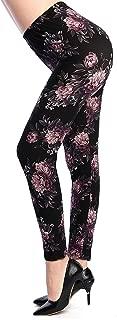INDJXND Women High Waist Printed Patterned Floral Sexy Leggings Fleece Pants