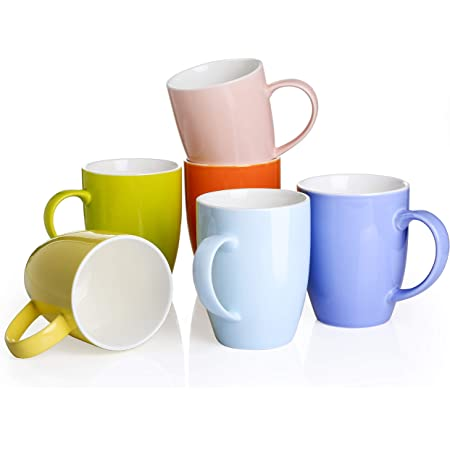 """Panbado Ensemble de Mugs 6pcs 460ml Tasse à Café Thé en Céramique avec Poignée Porcelaine pour Eau Lait Expresso 6 Couleurs Cadeau Anniversaire Fête Mariage 5""""/12.5 * 8.6 * 11cm"""