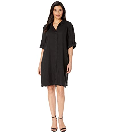 Mod-o-doc Frayed Hem A-Line Dress (Black) Women
