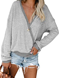 Womens Deep V Neck Wrap Sweaters Long Sleeve Waffle Knit...