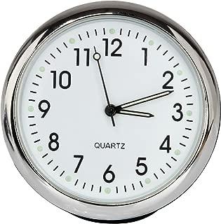 Anki Car Dashboard Clock Table Classic Small Round Analog Quartz Clock,High and Low Temperature Resistance (Luminous-White)