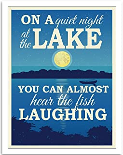 On A Quiet Night At The Lake - Farmhouse Style Wall Art - 11x14 Unframed Art Print - Great Lake/Fishing House/Boat/Cabin/Bar/Resort Decor, Also Makes a Great Gift Under $15