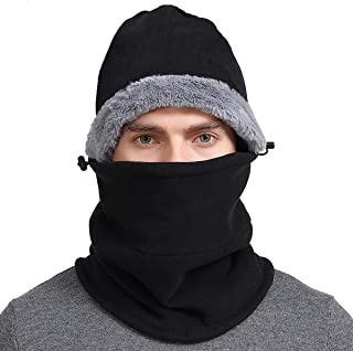 Balaclava Face Mask Winter Cold Weather Fleece Hood Men and Women Windproof Neck Warmer Scarf Hat for Ski Cycling Bike Motorcycle Running Snowboarding Dog Jogging Black