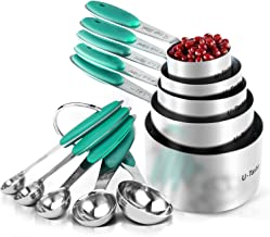 Measuring Cups : U-Taste 18/8 Stainless Steel Measuring Cups and Spoons Set of 10 Piece, Upgraded Thickness Handle(Teal/Tu...