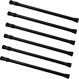 Coobey 6 Pack Spring Tensions Rods Steel Adjustable Length Cupboard Bars Curtain Rod, 11.8-20 Inches (Black)