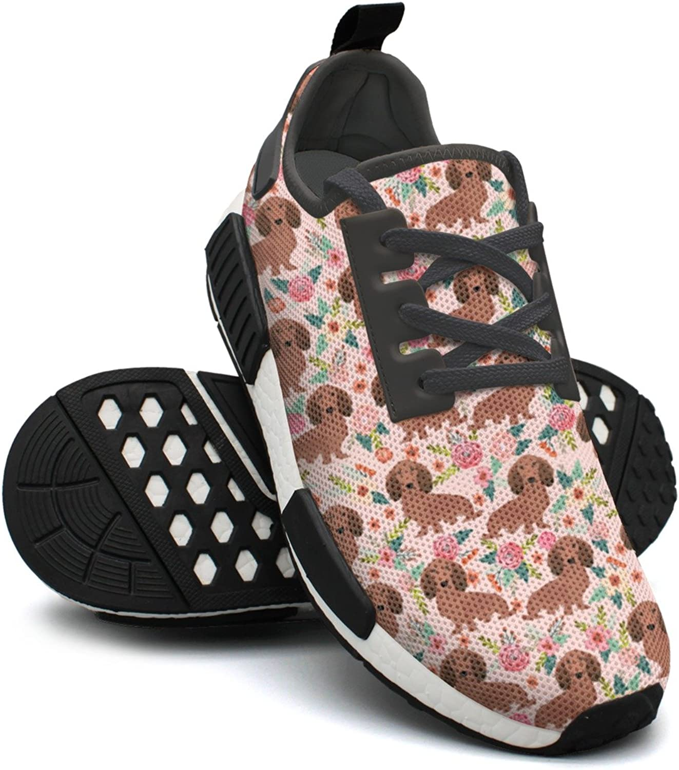 Cute Pink Dachshunds Dog Floral Women's Neon Lightweight Sneaker Gym Outdoor Running shoes