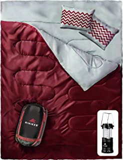 HiHiker Double Sleeping Bag Queen Size XL - Bonus Camping Light - for Camping, Hiking Backpacking and Cold Weather, Portable, Waterproof and Lightweight - 2 Person Sleeping Bag