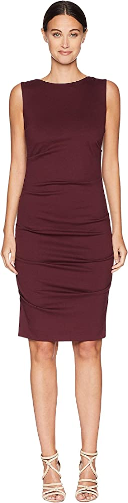 Ponte Sleeveless Tucked Dress