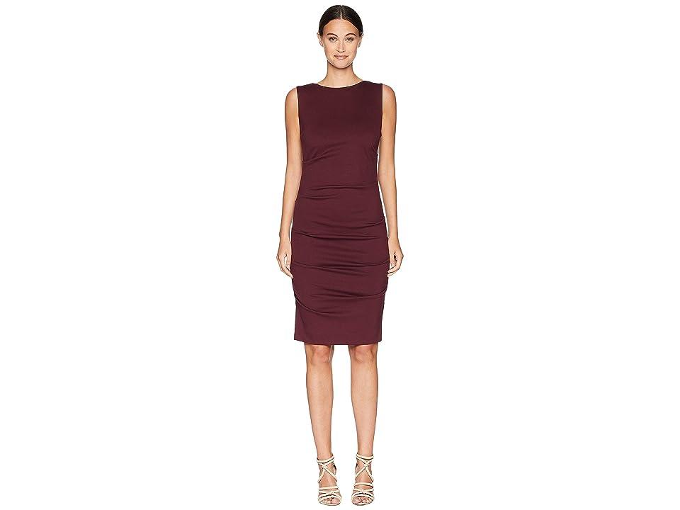 Nicole Miller Ponte Sleeveless Tucked Dress (Merlot) Women