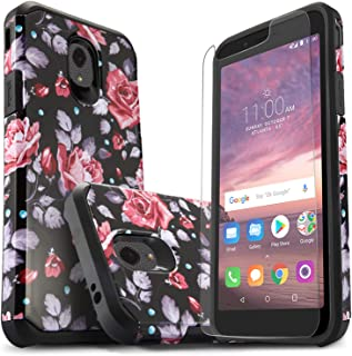 Alcatel Avalon V Phone Case, TCL LX Phone Case, Alcatel IdealXtra 5059R Case, 1X Evolve Case, Included [Tempered Glass Screen Protector], Star Absorption Drop Protection Protective Cover-Pink Rose